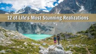 Couple hiking outdoors near alpine lake.