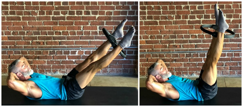 double straight leg stretch for abs