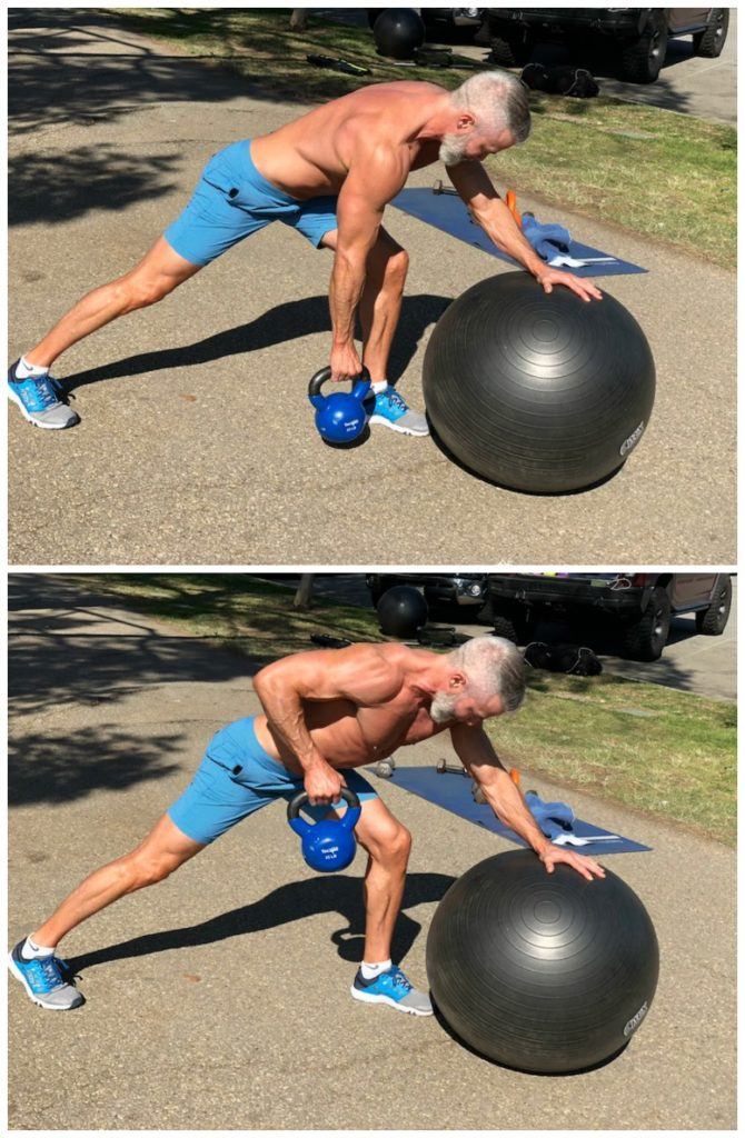 exercise ball bent over row