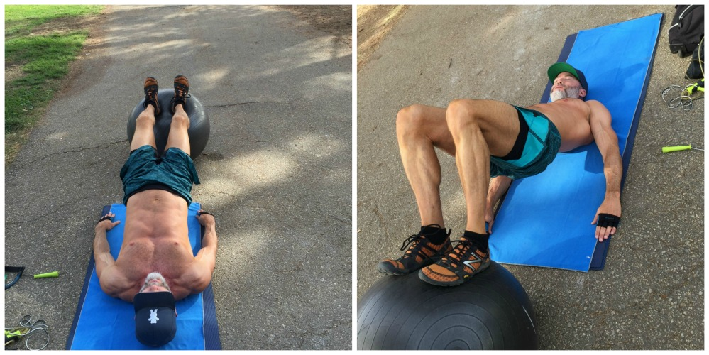 glute hamstring curls exercise ball