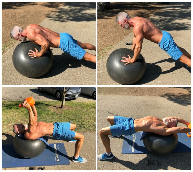 incline push ups pullover chest back ball