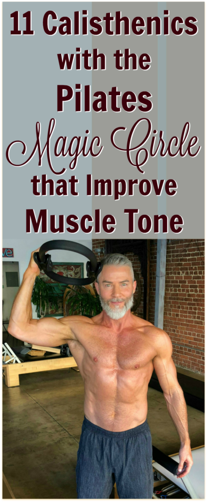 Mature athlete uses pilates tool for improved fitness.