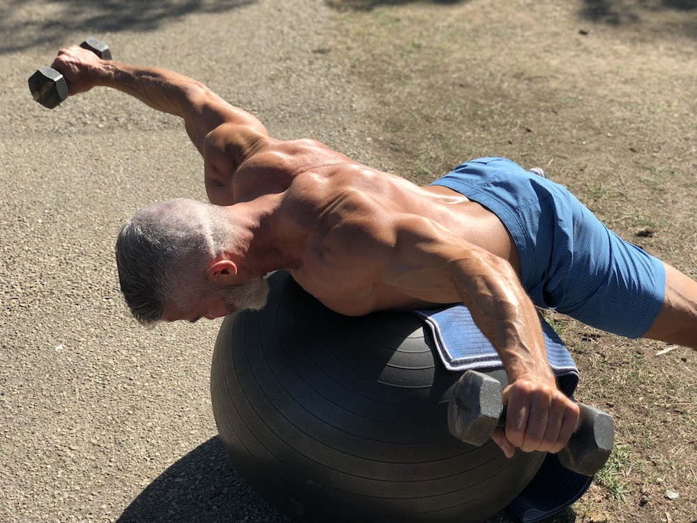 rear delt flies stability ball