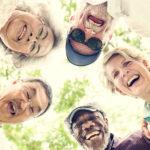 circle of senior, multi-racial friends