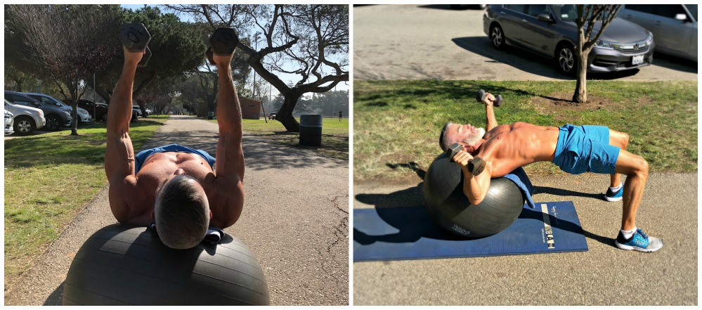 stability ball chest muscle exercise