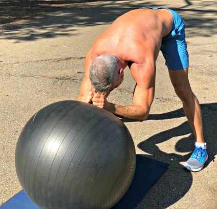 stability ball rollouts standing variation