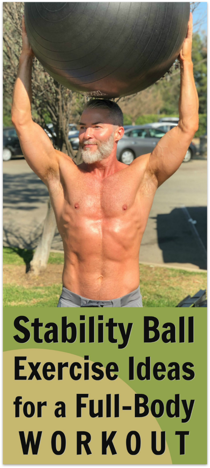 A stability ball is a beneficial workout tool for full-body fitness training, particularly for strengthening core muscles. Try these 14 exercises. See video, too! #overfiftyandfit #stability #ball #swissball #bodyball #core #muscles #strength #balance #fitness #workout #over50 #exercise #ideas #health #training #fullbody #wellness