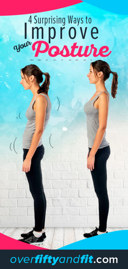 woman demonstrating poor posture and good posture
