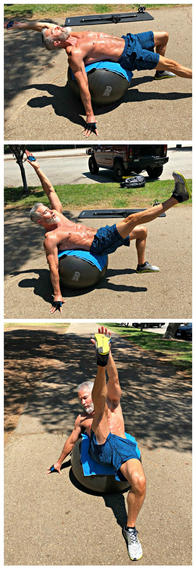 oblique toe-touches stability ball