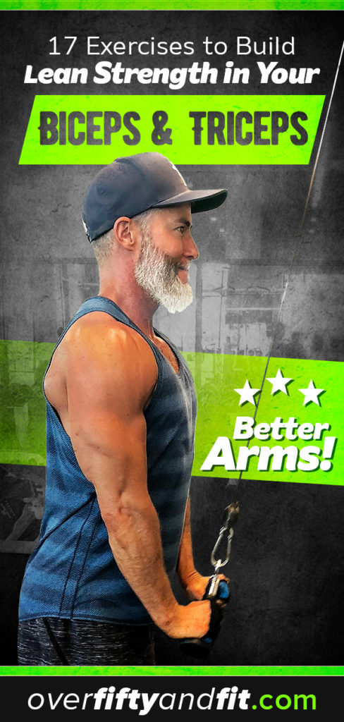 Mature man doing cable triceps pushdown exercise