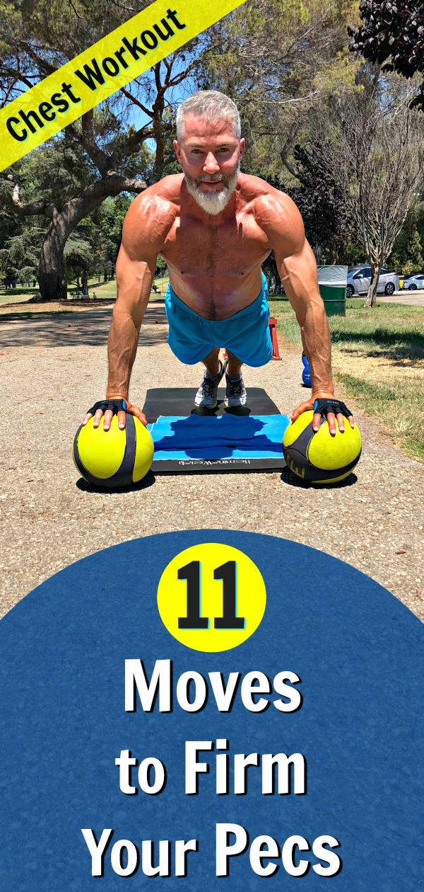 When pectoral muscles get weak, they lose the fight with gravity. This 11-exercise chest workout will help you stay fit and keep your torso from looking droopy.  #chest #pectorals #workout #exercise #over50 #fitness #kettlebell #plank #dumbbell #strength #definition #firm #shape #health