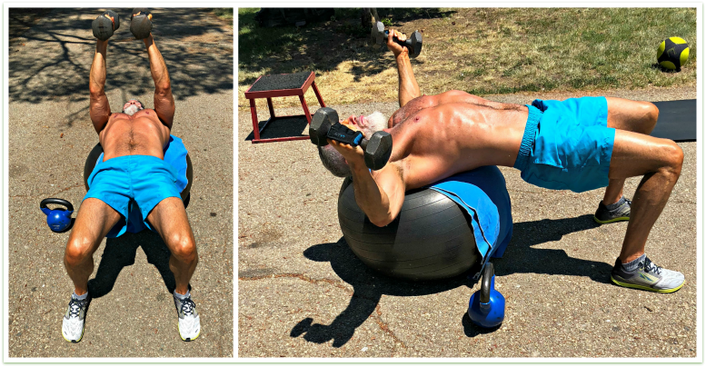 dumbbell fly on stability ball chest