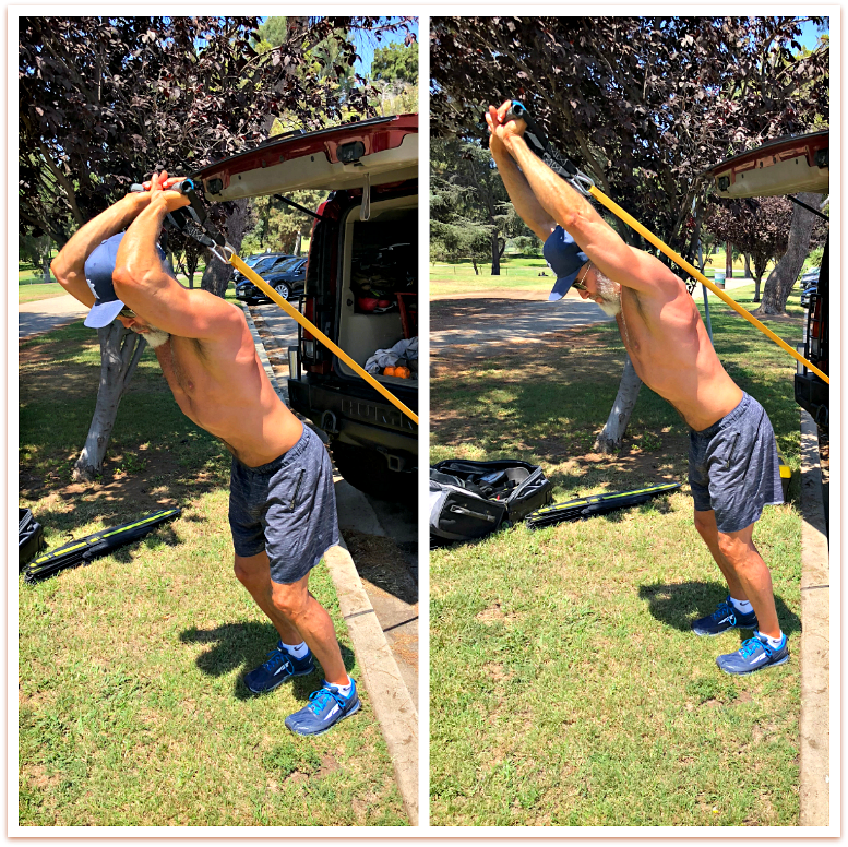 resistance band overhead tricep extensions arms day