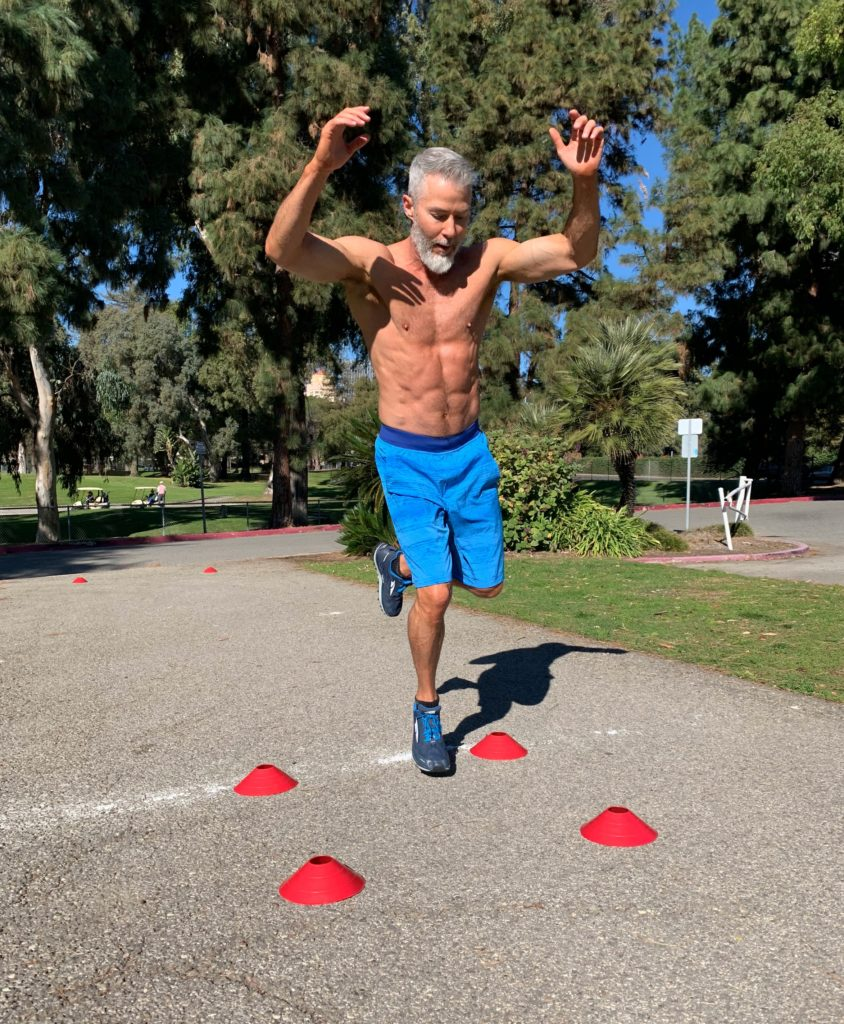single-leg four square hops HIIT