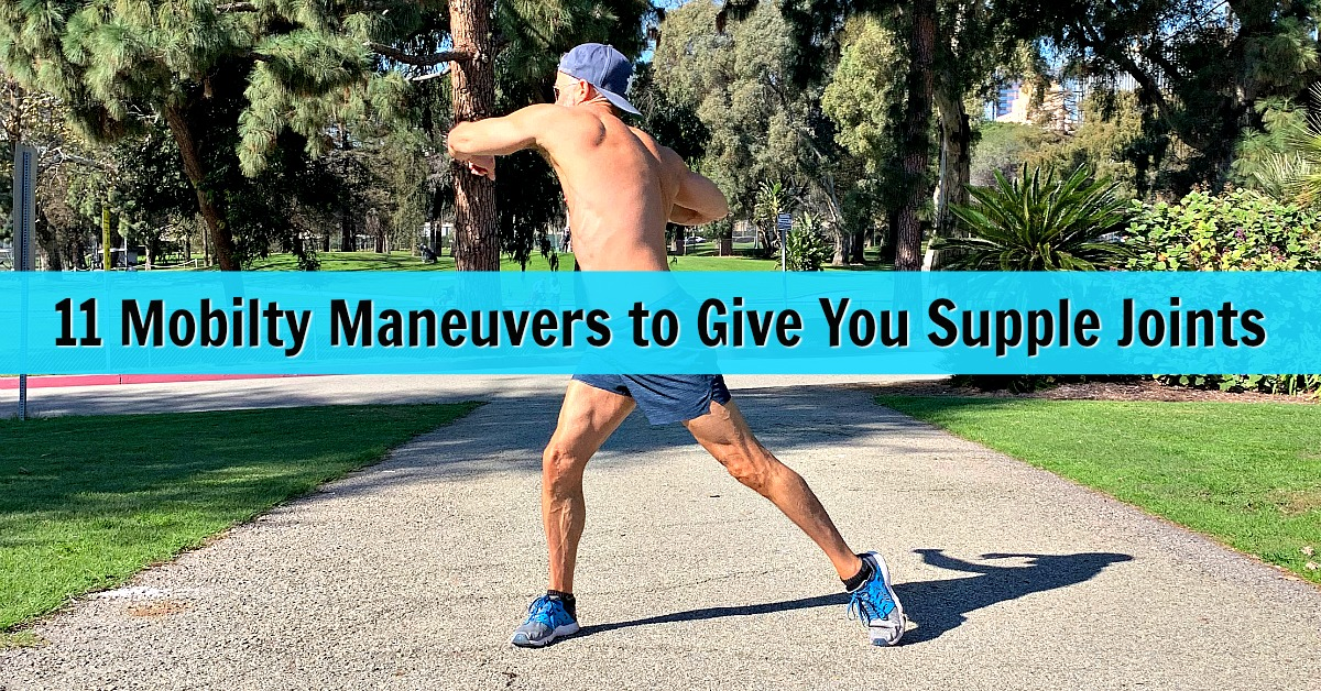 older athlete demonstrates mobility movements to help keep joints and spine supple