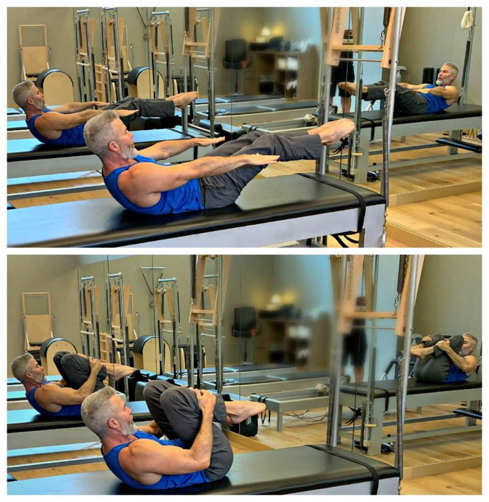 Man doing pilates exercise – the Double Leg Pull – using a mat and no other equipment.