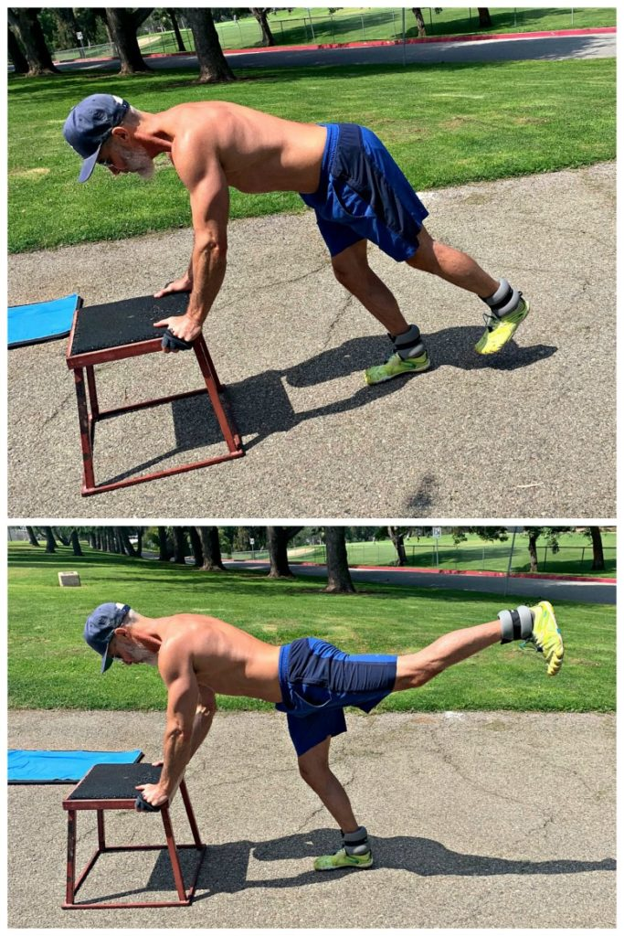 Man doing leg calisthenics outdoors.
