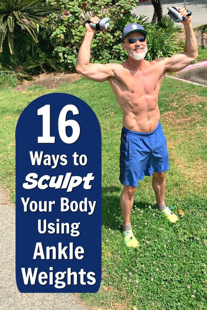53 year-old athlete prepares to exercise outdoors using ankle weights.