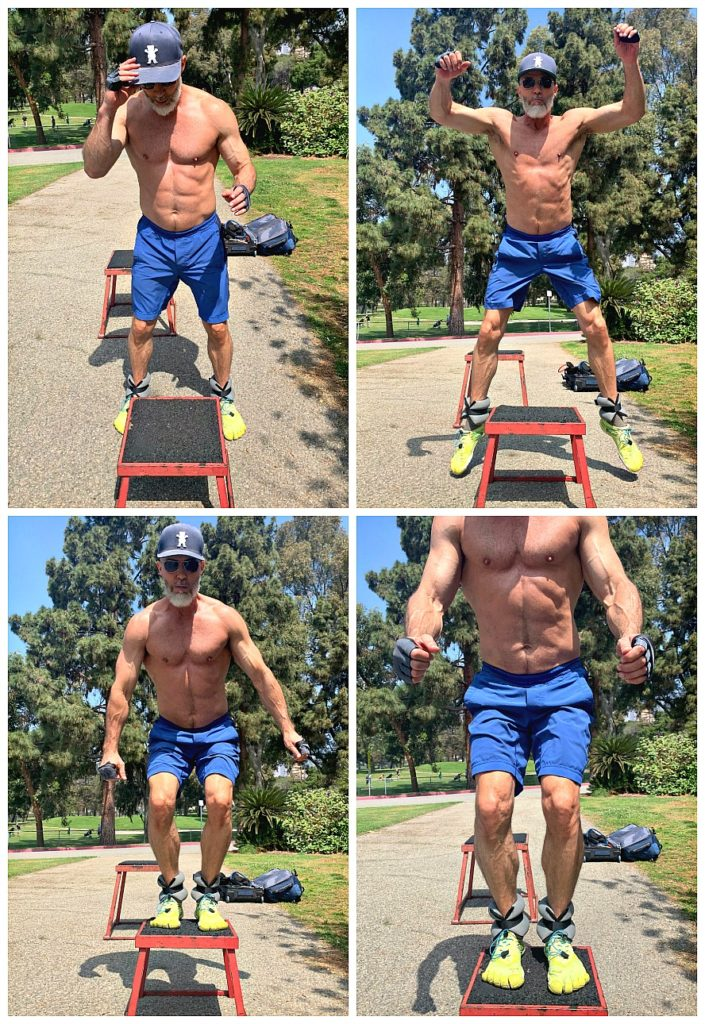 Athlete, age 53, does box jumps exercise with ankle weights.