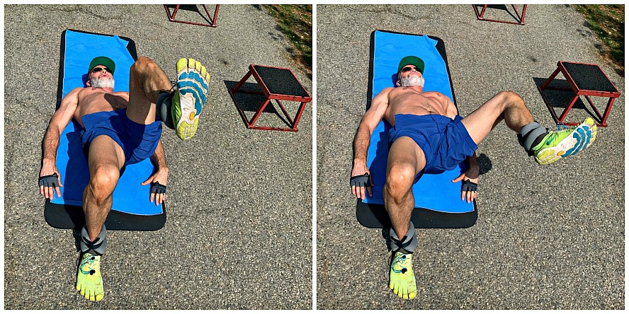 Man in his fifties does glute and abdominal exercises.