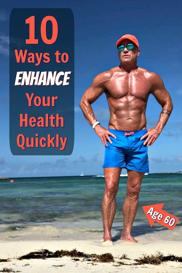 Fit, 60-year old athlete on beach looking healthy.