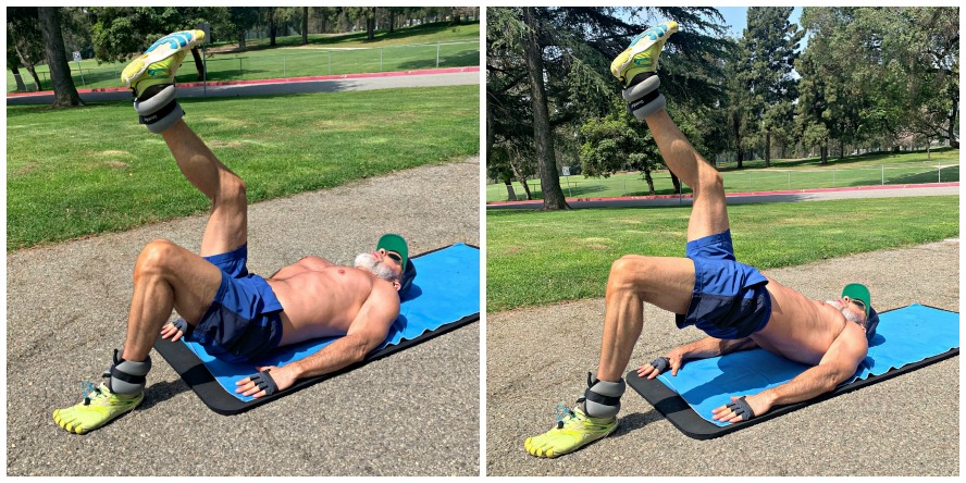 Man in his fifties does ankle-weight exercises.