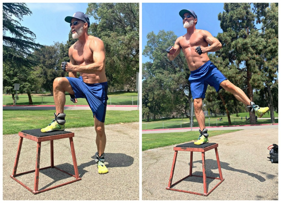 Mature athlete demonstrates step up with leg lift exercise wearing ankle weights.
