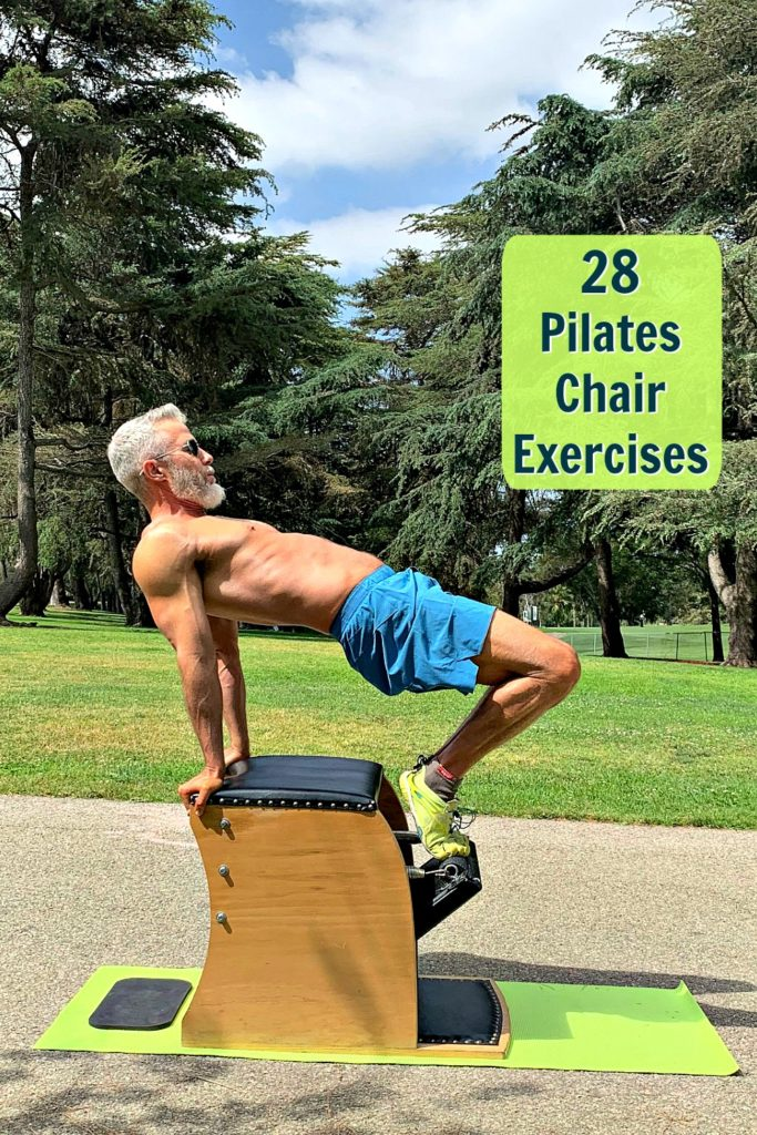 Dane Findley demonstrates Table Top exercise on the Pilates Chair.