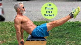 Athlete, age 53, working out on Pilates Chair.