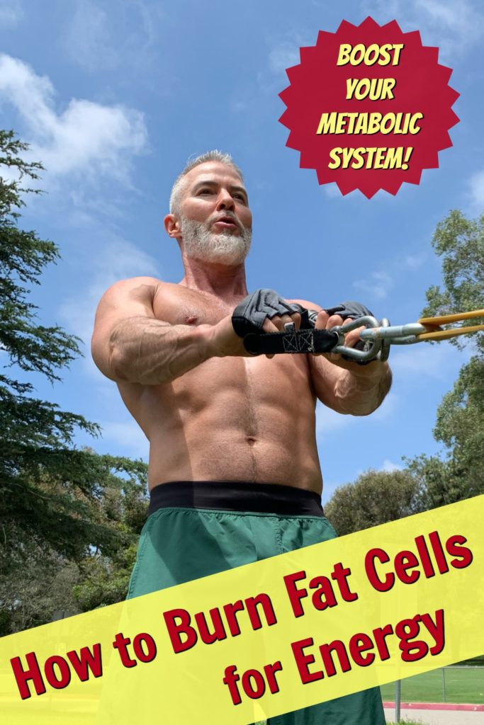mature, fit athlete burning calories in the park through exercise