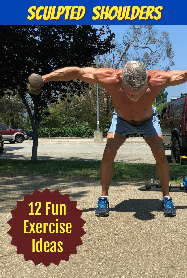 fit, mature athlete doing shoulder exercises in the park.