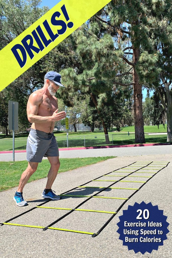 Fit, mature athlete doing speed drills in the park.