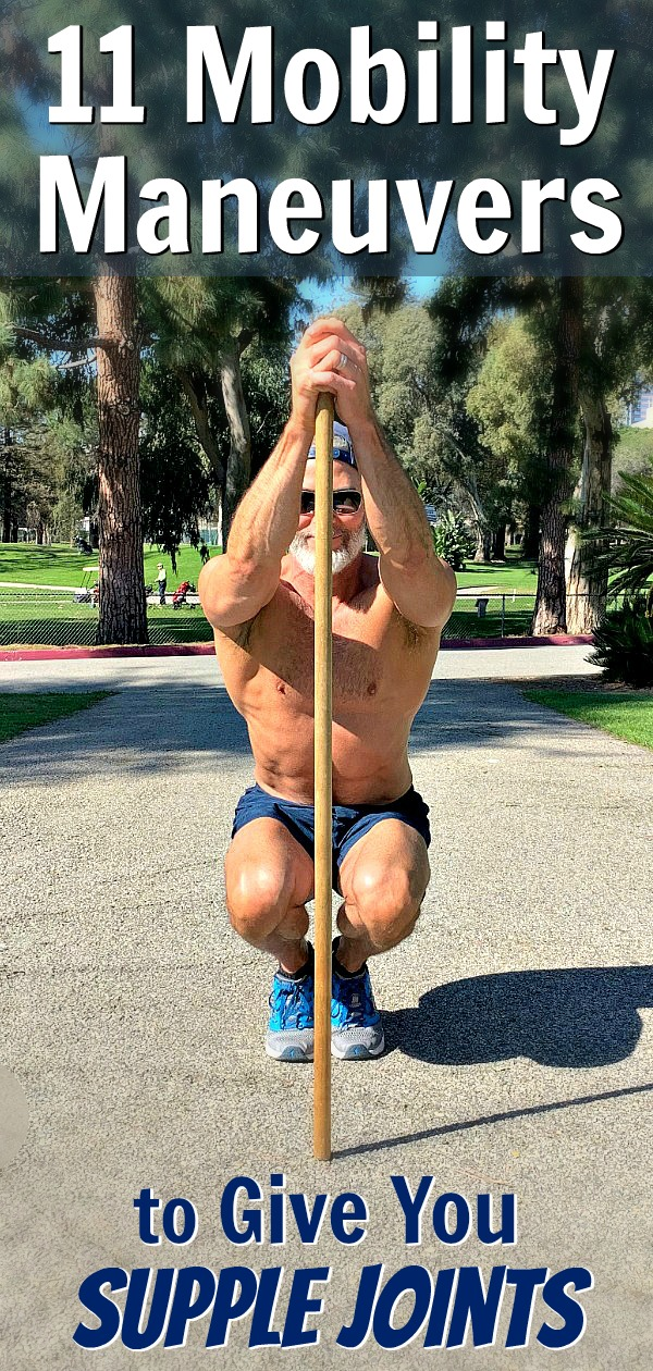 Mature athlete doing mobility maneuvers outdoors
