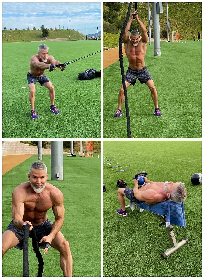 Four outdoor examples of Back Day exercises using resistance band, battle rope, and kettlebell.