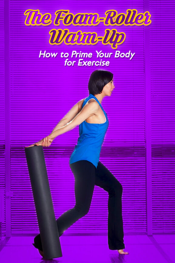 Woman warming-up with foam roller to prepare for more strenuous exercises.