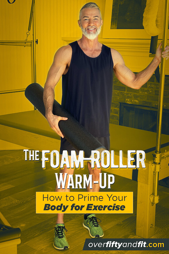 Mature male athlete prepares to use foam roller to warm-up for workout.