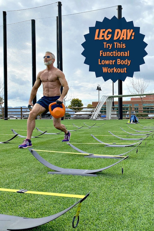 Don't skip Leg Day! Try this fitness circuit to pack your thighs with power and strength – with exercises that sculpt, firm, and define your quads, hamstrings, adductors, abductors, buttocks, and calves. #legday #thighs #legs #lowerbody #workout #functional #training #intervals #circuit #exercises #fitness #over50 #body #ideas #sculpt #firm #define #quads #hamstrings #buttocks #calves