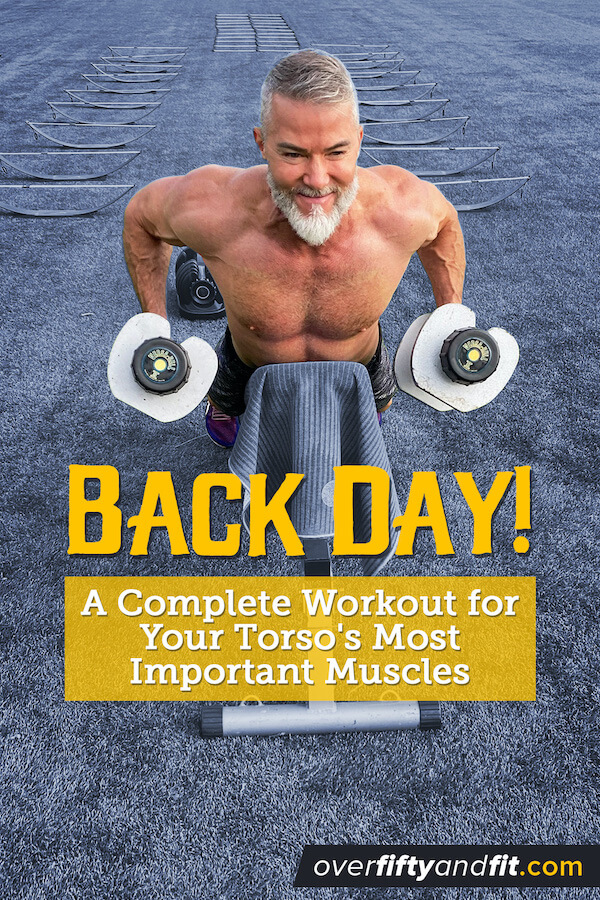 Silver-bearded man does horizontal bench dumbbell rows for back muscles.