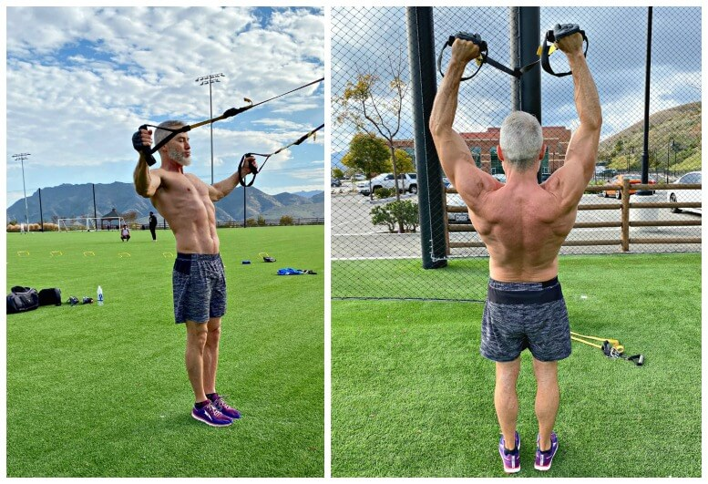 An example of how to do the rear delt fly exercise and front arm raise on the TRX.