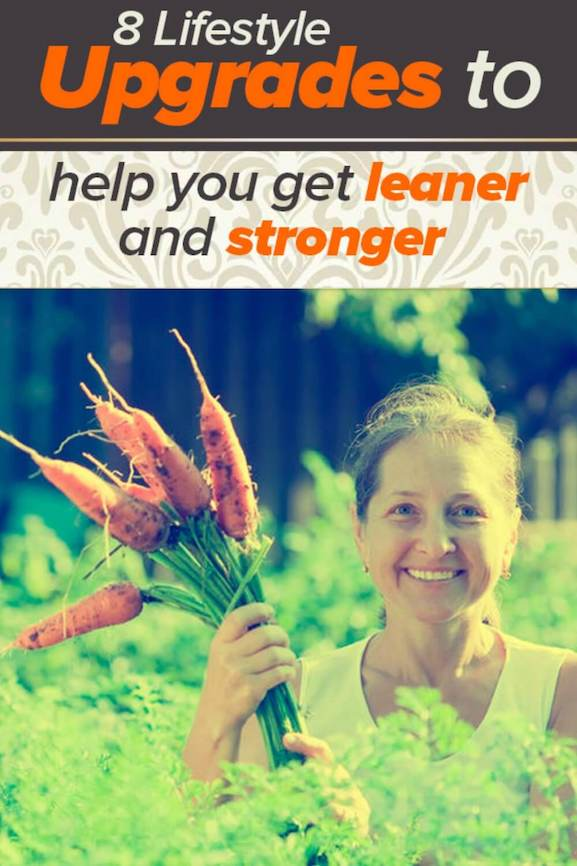Happy woman picking carrots in garden, making lifestyle upgrades to improve health.