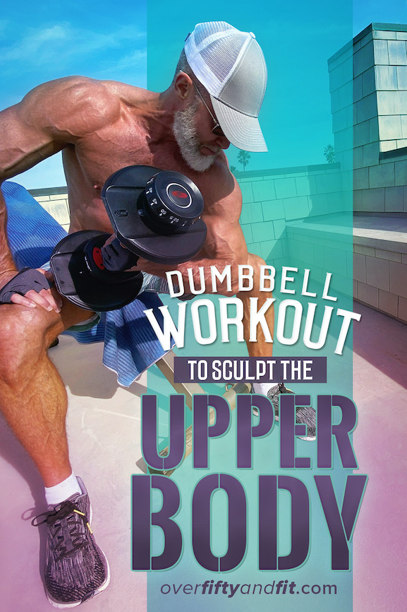 Dane Findley, age 54, does dumbbell concentration curls to strengthen his biceps.