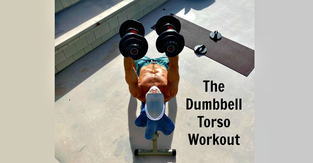 54-year old trains his torso using dumbbells.