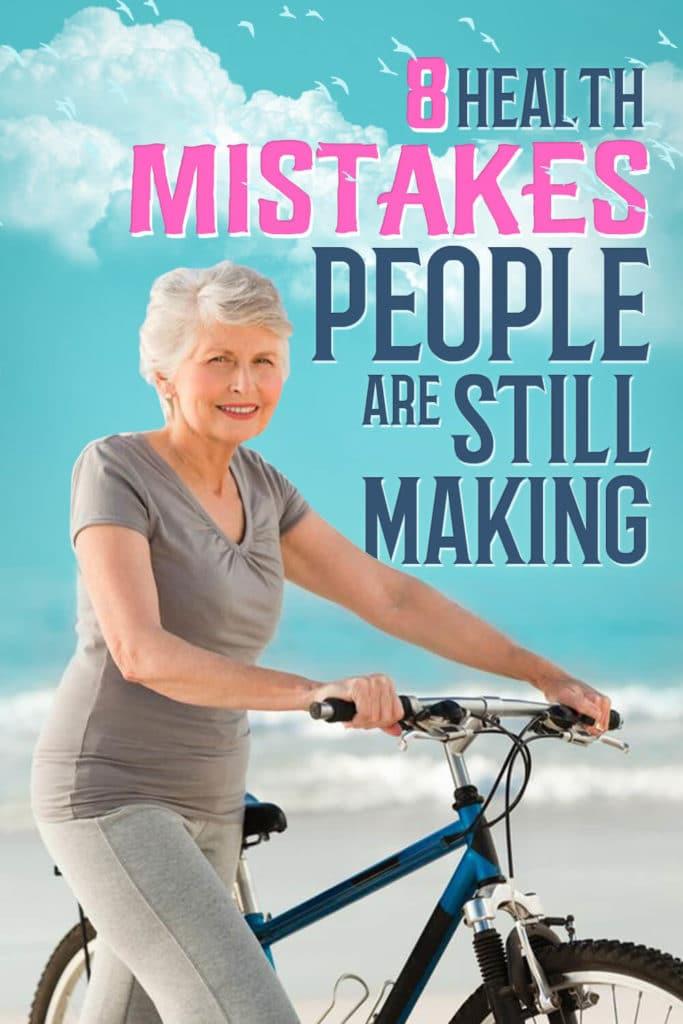 Senior fit woman biking outdoors, avoiding health mistakes.