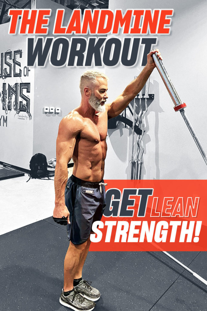 Silver-bearded athlete does one-arm overhead reverse lunge with a leaning barbell.