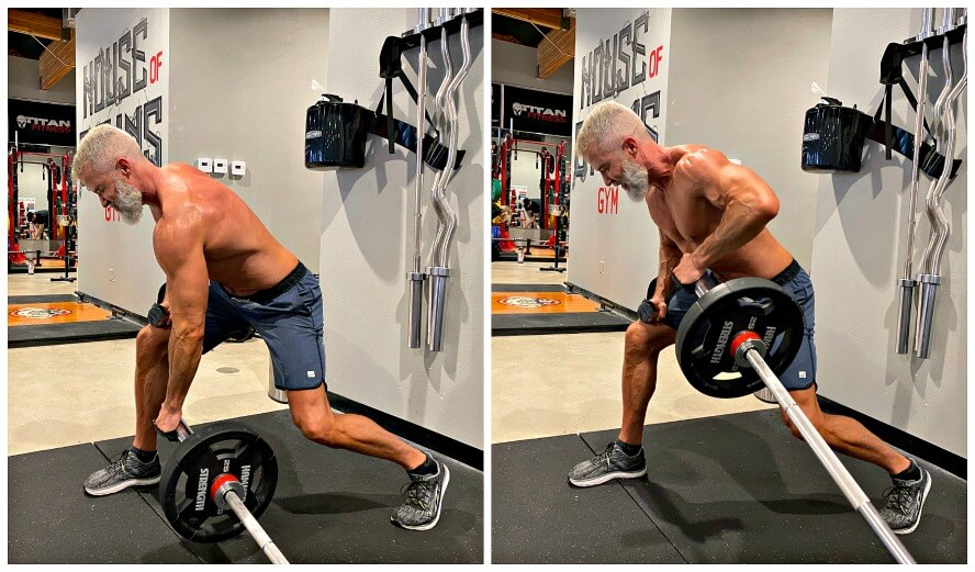 Man doing Meadows Row exercise using the Landmine Barbell apparatus.
