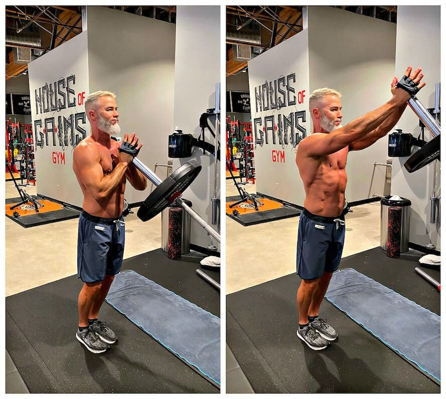 Athlete demonstrates landmine shoulder chest press exercise with a leaning barbell.