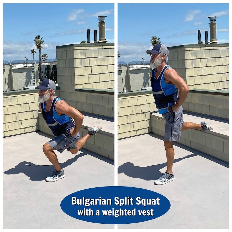 Mature athlete does Bulgarian Split Squat exercise in a weighted fitness vest.