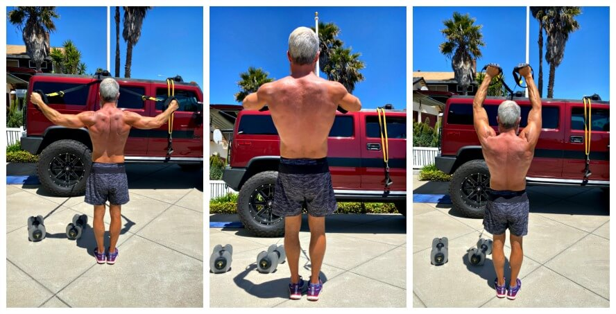 Dane Findley, age 54, does TRX training in his driveway.