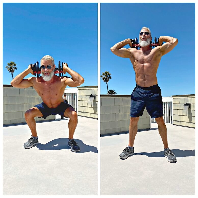 Older guy working out his leg muscles with back squat variation.