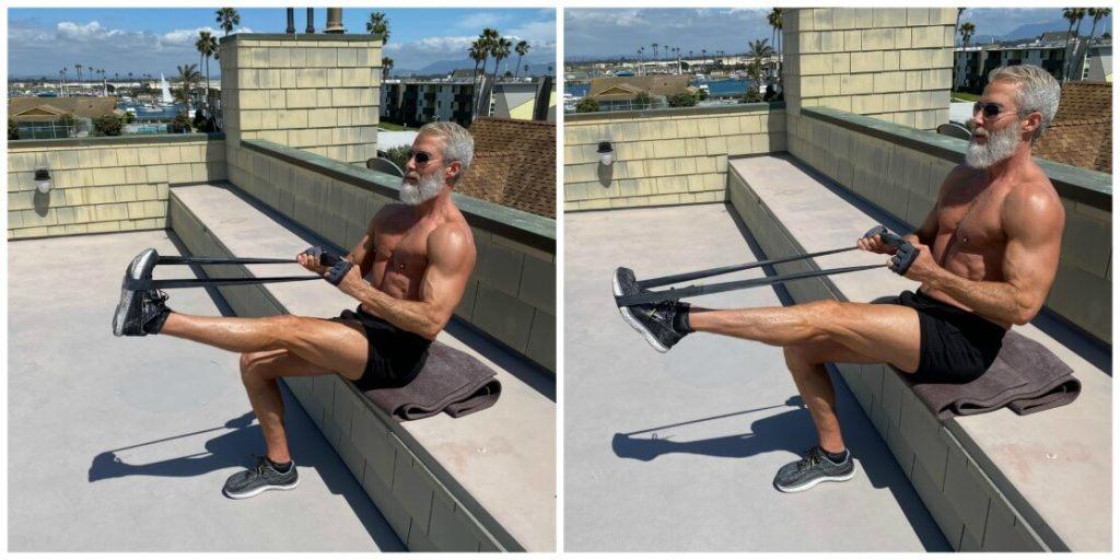 Silver-haired man with muscles does calves exercises for lower body using resistance bands.